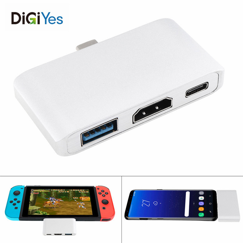 Portable USB TypeC Adapter Support HDMI Enabled Devices to TypeC Enabled Laptop for Samsung Galaxy S8/S9,Huawei Mate 10