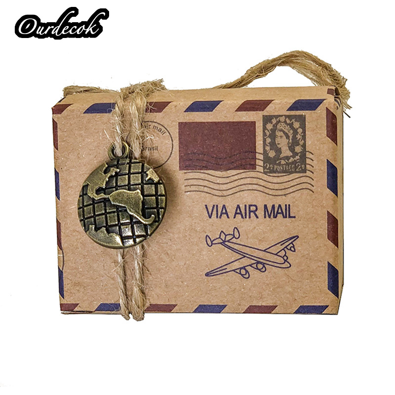 Image 2 - 100pcs Vintage Favors Kraft Paper Candy Box Travel Theme Airplane Air Mail Gift Packaging Box Wedding Souvenirs scatole regalo-in Gift Bags & Wrapping Supplies from Home & Garden