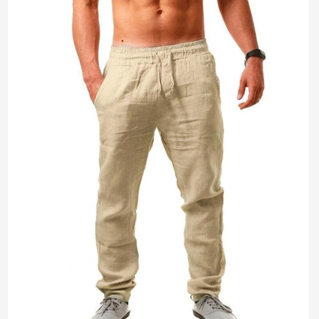 Hot Men Cotton Linen Pants Male Summer quick-dry Breathable Solid Color Linen Trousers Street Casual Comfortable Costume Male 3