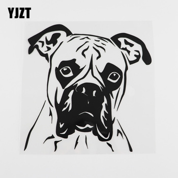 YJZT 15.9X16.1CM Funny Boxer Dog Pet Pets Styling Vinyl Car Sticker Black/Silver 8A-0004 image