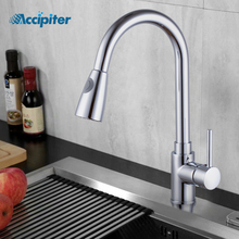 Kitchen Faucets Chrome Single Handle Pull Out Kitchen Tap Single Hole Handle Swivel 360 Degree Water Mixer Tap Mixer