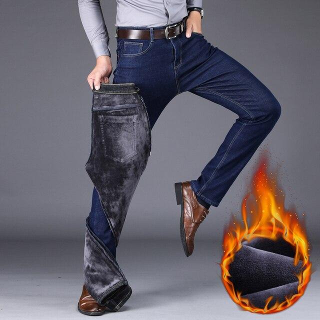 2020 Winter New Men's Warm Slim Fit Jeans Business Fashion Thicken Denim Trousers Fleece Stretch Brand Pants Black Blue 2