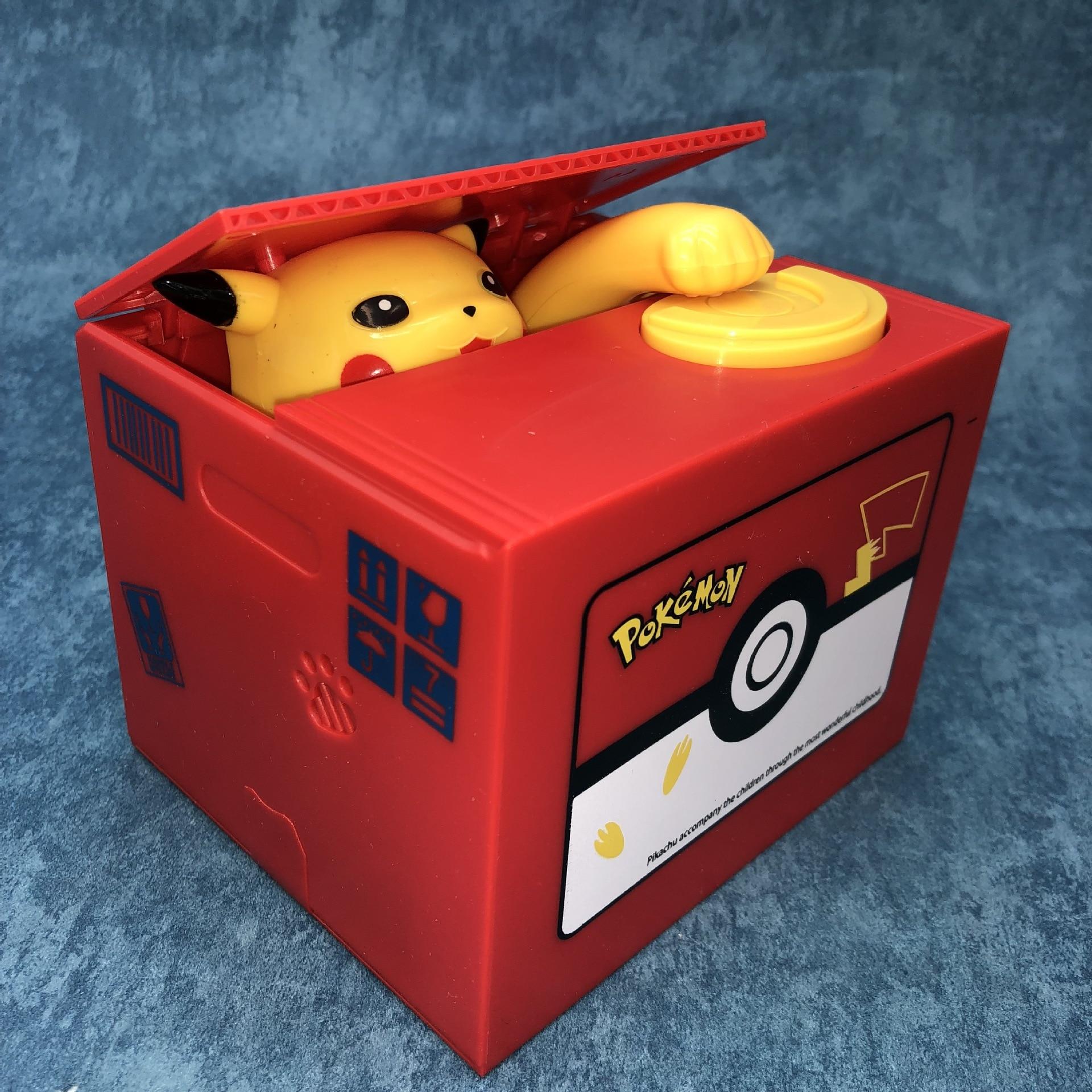 Alta qualidade caixa de dinheiro eletrônico pokemon pikachu piggy bank roubar moeda automaticamente para crianças amigo aniversário presente natal|Brinquedos bancários e de dinheiro|   -