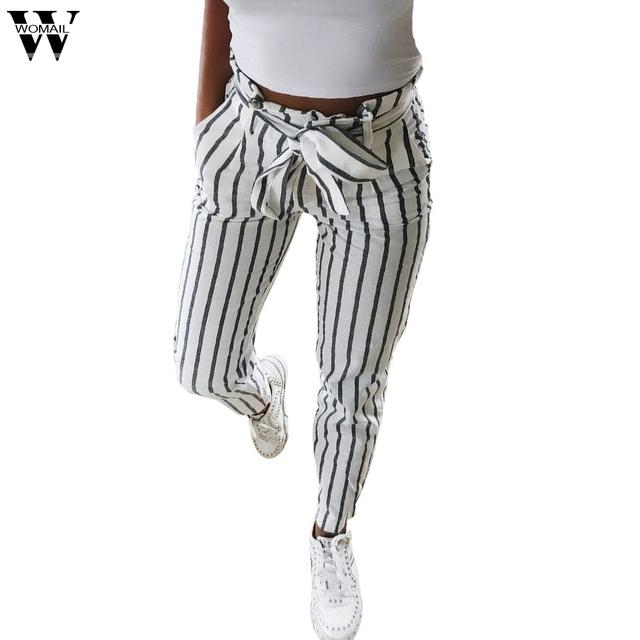 Womail Womens Pants Skinny Women Striped Long Jeans Tie High Waist Ladies Pants Trouser Women pants 2019 S-2XL