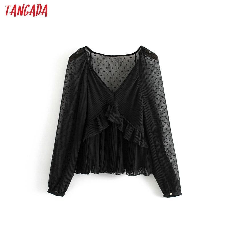 Tangada Women Chic Black Mesh Blouse Ruffled Lantern Sleeve Female Transparent Shirts Stylish V Neck Tops Blusas 3H318