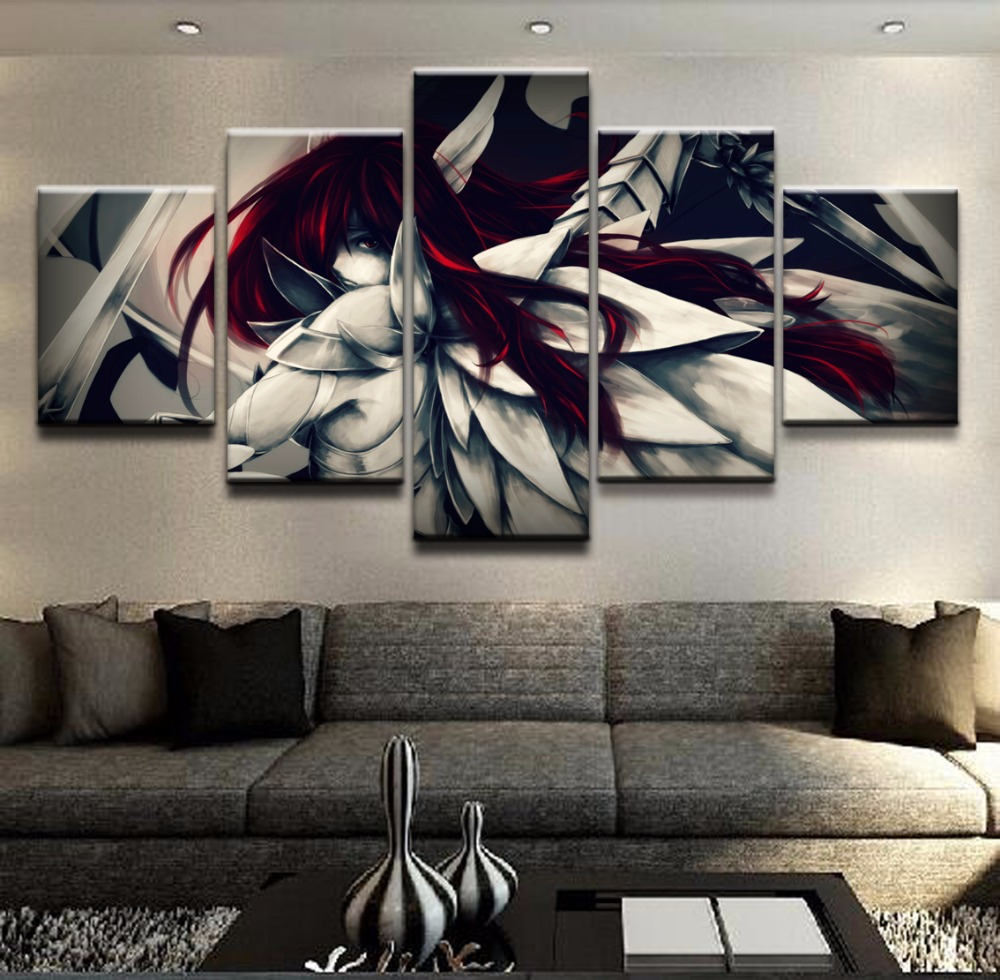 Artwork Modern Painting Top-Rated Canvas Print Wall Art Modular Pictures 5 Pieces Armor Erza Scarlet Anime Fairy Tail Home Decor image