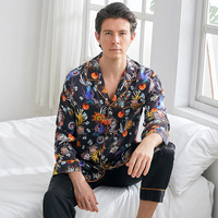 Mens Satin Silk Pajamas Sets Luxury Sleepwear Sexy Leisure Suits Nightwear Long Sleeve Nightgown Night Suit Sleep Two Piece Set