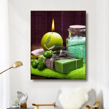 Canvas Art Painting SPA Bamboo Stacked stones Bath salt Candle Poster Wall Decor Modern Home Decoration For Living room Bathroom