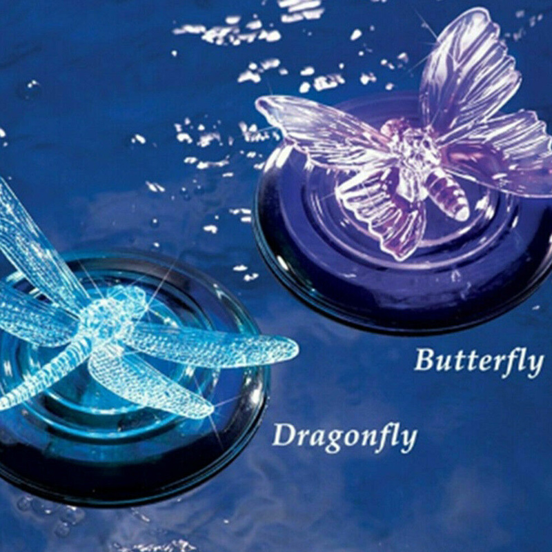 Solar LED Float Lamp RGB Color Change Butterfly Dragonfly Outdoor Pond Water Light ZJ55