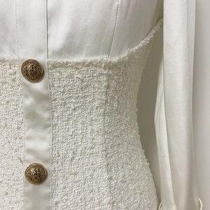 Image 5 - High street 2020 nova moda designer vestido de manga longa das mulheres cetim tweed retalhos leão botões vestido