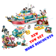 compatible Friends Girls Dolphin Cruiser Large Yacht Club Cruise Vessel Ship Building Blocks Brick Toys For Children