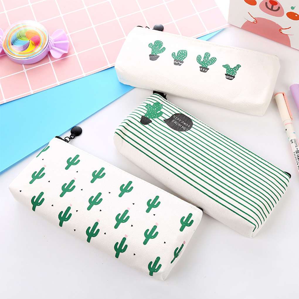 Cute Cactus Canvas Zipper Pencil Bags Storage Pen Pouch Pencil Bag For Girls Student