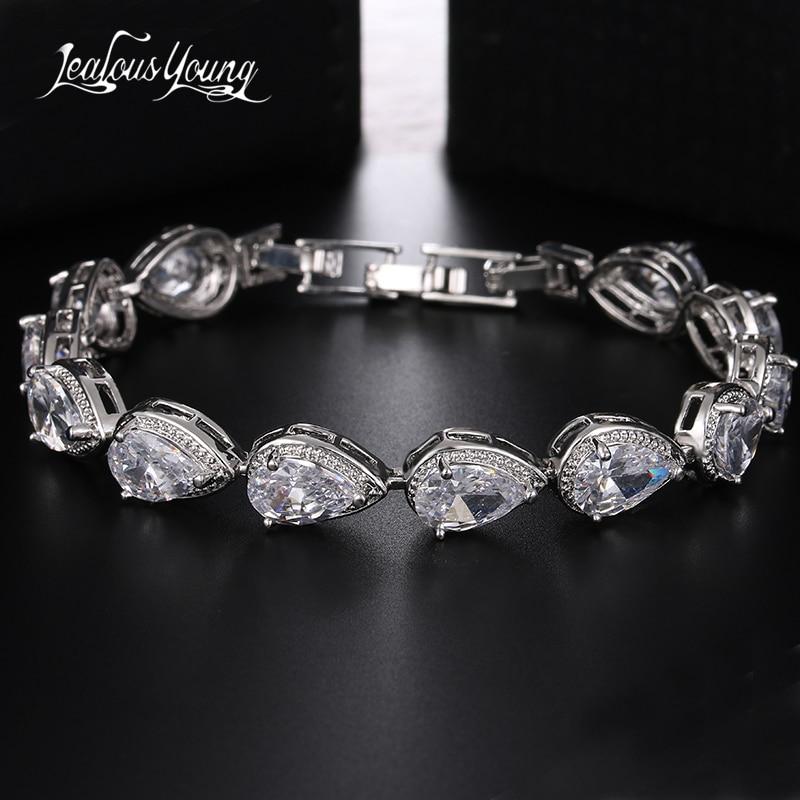 Elegant AAA Pear Cut CZ Zircon Tennis Charm Bracelets & Bangles Gold Color Fashion Princess Wedding Friendship Braclet Jewelry
