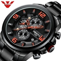 Спортивные кварцевые часы NIBOSI  армейские водонепроницаемые часы с большим циферблатом  кварцевые наручные часы