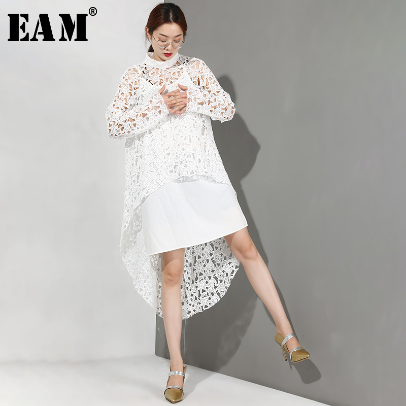 [EAM] Women Black Hollo Out Lace Temperament Dress New Stand Collar Long Sleeve Loose Fit Fashion Tide Spring Summer 2020 BF211