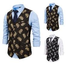 PUIMENTIUA Slim Fit Single Breated Suit Vest Classic Paisley Jacquard Waistcoat Party wedding Tie vest Suit Pocket Square Vest