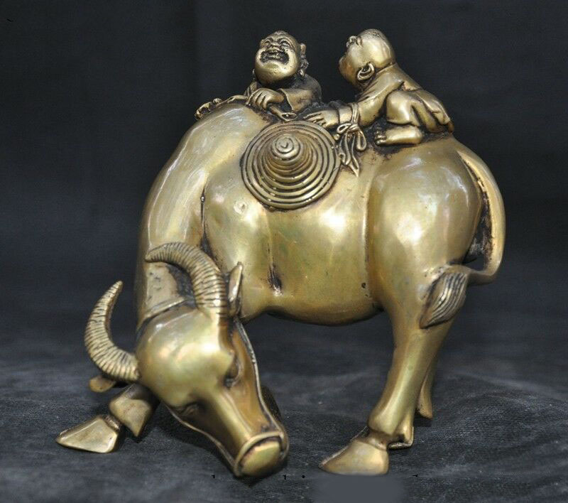 54MM Small Curio China Fengshui Bronze Lovable Zodiac Animal OX Bull Oxen Statue