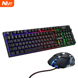 Juego de juegos por cable para Gamer teclado, ratón, PC, tacto mecánico, teclados retroiluminación arcoíris, retroiluminado, 104 teclas