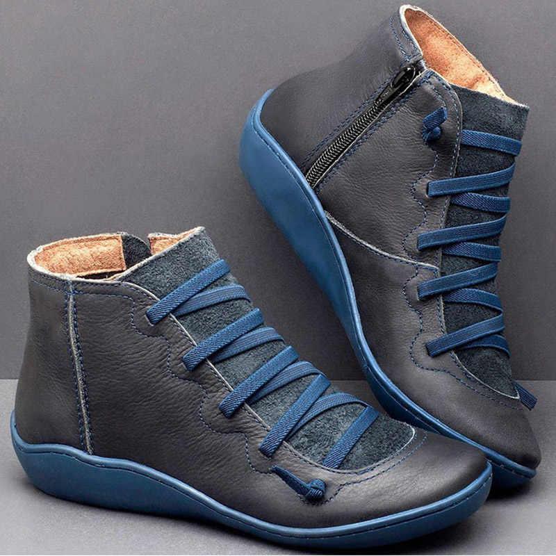 Femmes bottes chaussures d'hiver femmes chaussons en cuir PU bottines femme bottes d'hiver croix à bretelles plates dames bottes Botas Mujer