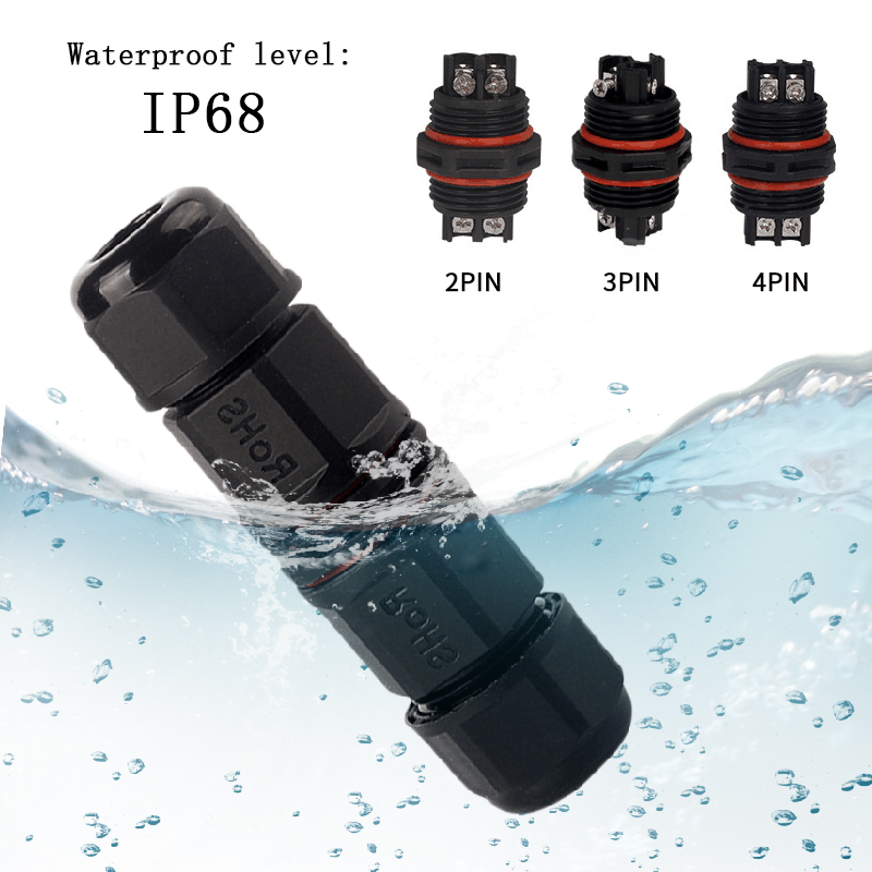 Cable <font><b>Connector</b></font> Screw <font><b>2pin</b></font> 3pin 4pin IP68 Waterproof 6-11mm Durable Compact Adapter Outdoor Conector Electrical <font><b>Wire</b></font> Plug image