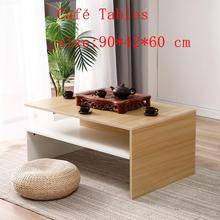 2 Layer Square Coffee Table Computer Desk Sofa Side Table With Storage Shelf Nightstand Small Desk Living Room Furniture HWC