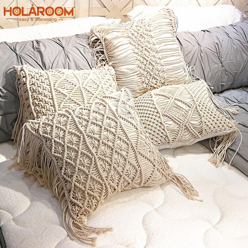 Boho Cushion Cover Macrame Pillows Case Bohemia Geometric Pattern Cotton Thread With Tassels Pillowcase Sofa Throw Home Decor