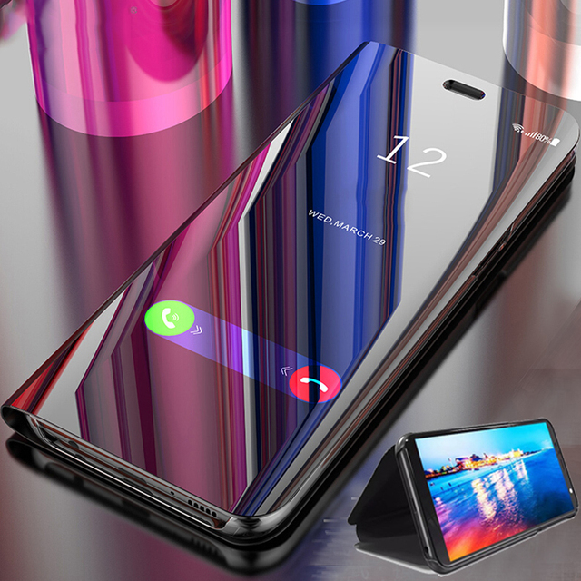 For Oneplus Nord Case Luxury Mirror Stand Leather Clear Smart View Flip 360 Full Cover Case for One Plus Nord Shockproof Fundas 1