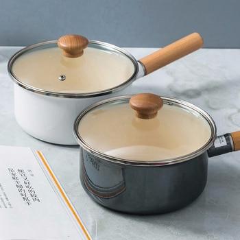 Quality Japanese porcelain enamel single wood handle instant noodles baby milk soup pot saucepot pan glass cover lid stewpot
