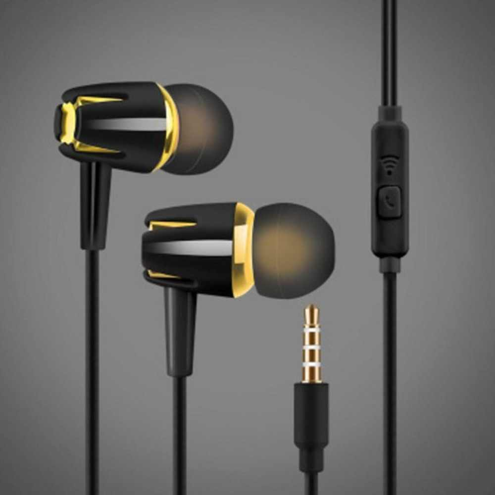 Kabel Earphone Elektroplating Bass Stereo In-Ear Earphone dengan MIC Panggilan Hansfree Earphone Telepon untuk Android IOS