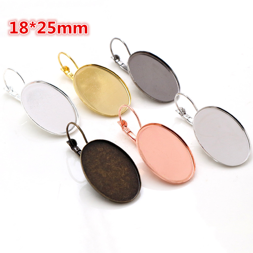18x25mm 10pcs 6 Colors Plated High Quality French Lever Back Earrings Blank/Base,Fit 18x25mm Oval Glass Cabochons