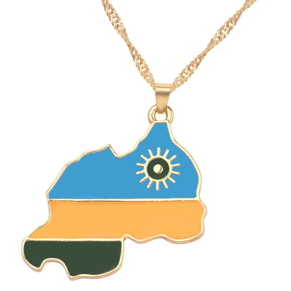 Новая карта страны, флаг, ожерелье, Африка, Гана, Liberia Undersea, Jamaica, Южная Африка, Congo, Honduras, подвеска, цепь, мужские ювелирные изделия - Окраска металла: Rwanda