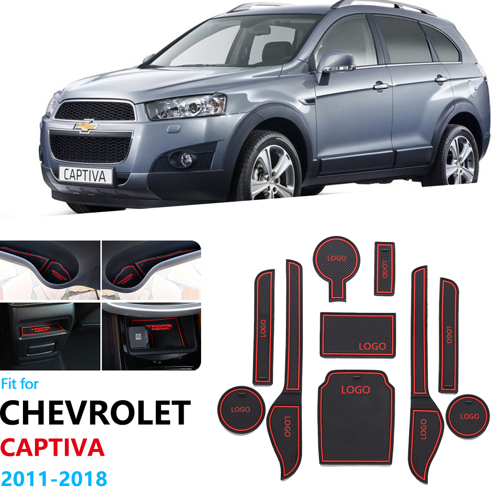 Anti-Slip Rubber Gate Slot Cup Mat For Chevrolet Captiva 2011 2012 2013 2014 2015 2016 2017 2018 Door Groove Mat Stickers