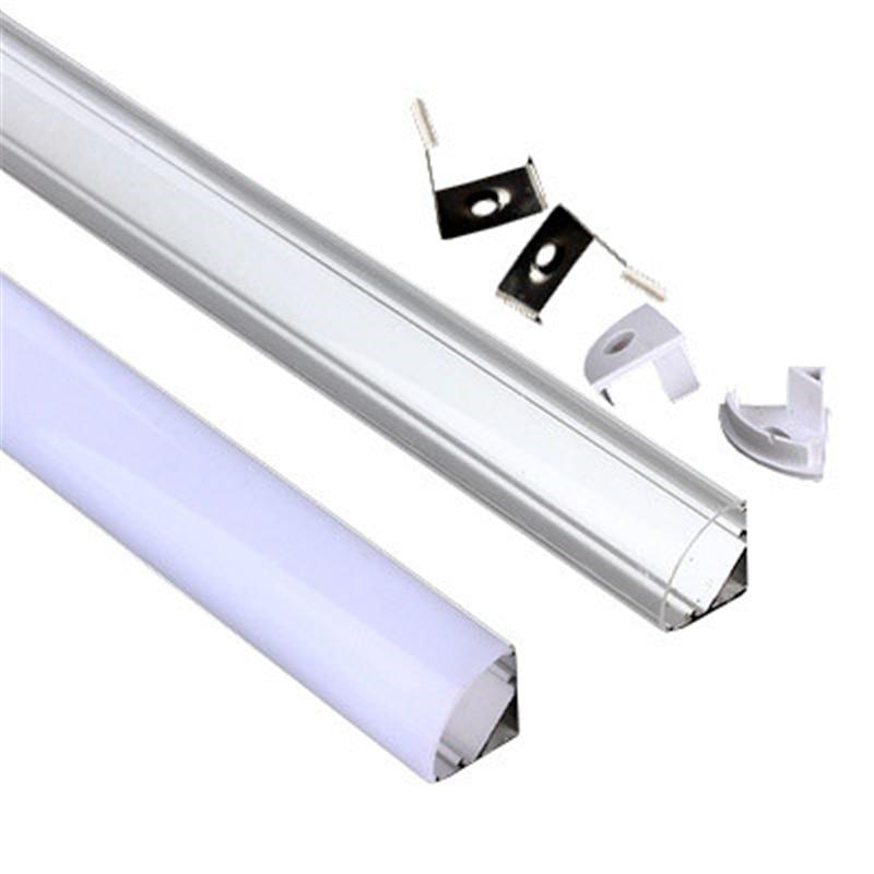 Светодиодный алюминиевый канал, угол 45 градусов, V-образный алюминиевый профиль для светодиодной ленты 5050,3528, светодиодный алюминиевый кана...