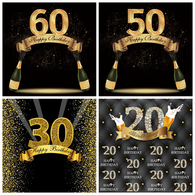 Laeacco Gold <font><b>50</b></font> <font><b>40</b></font> 60 70 80th Birthday Party Customized Poster Beer Celebration Photo Backdrop Photography Background Photocall image