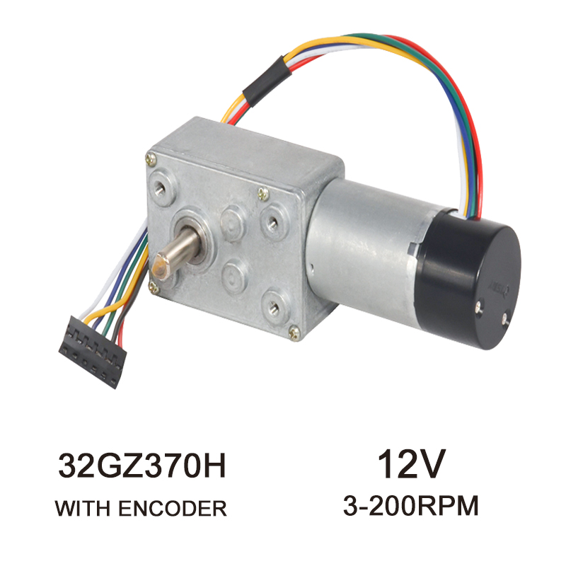 32GZ370H With Hall <font><b>Encoder</b></font> High Torque DC Electric Worm <font><b>Gear</b></font> <font><b>Encoder</b></font> <font><b>Motor</b></font> DC <font><b>Gear</b></font> <font><b>Motor</b></font> <font><b>12V</b></font> 3-200Rpm With Dust Cover image