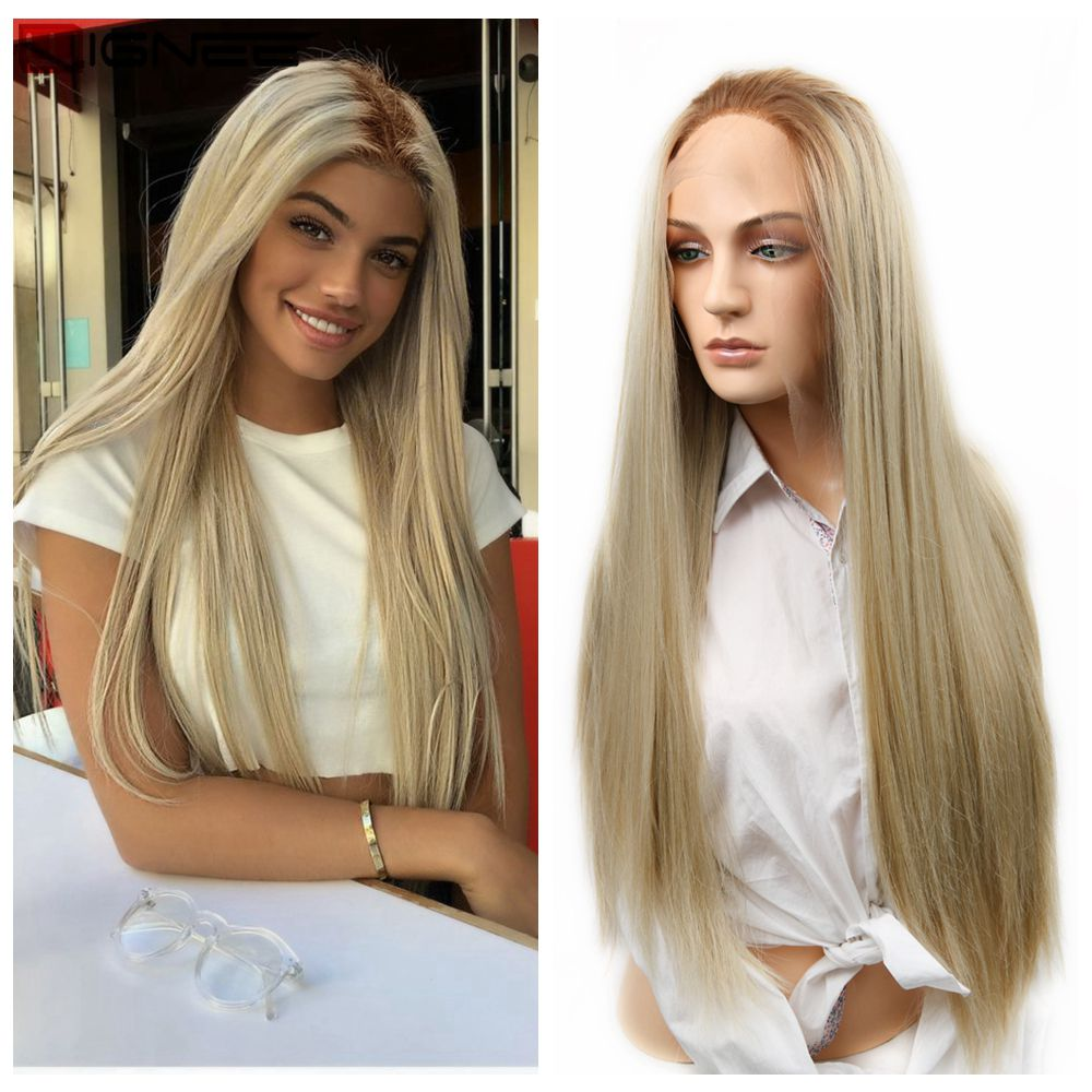 Wignee Lace Front Synthetic Wig Long Blonde Straight Hair Heat Resistant For Women Middle Part Ombre Daily Blonde Soft Wigs
