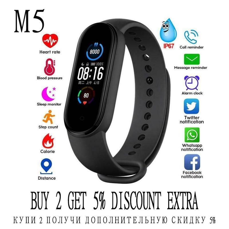 M5 умный спортивный ремешок Фитнес Bluetooth 5,0 Smartband здоровья монитор сердечного ритма M5 ремешок на базе Android IOS спортивные часы трекер TSLM1