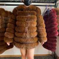 70CM Frauen Pelzmantel Fuchs Reale Natürliche Winter Echte Natürliche Frauen Fuchs Pelz Mantel Mit Pelz Weste Mädchen Mantel damen Westen Fuchs Mantel DHL