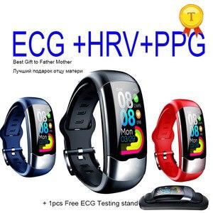 Image 1 - 2020 nova atualização exata freqüência cardíaca monitoramento de pressão arterial banda inteligente pulseira ecg ppg relógio inteligente homem mulher esportes
