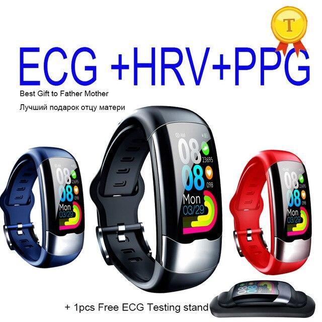 2020 nova atualização exata freqüência cardíaca monitoramento de pressão arterial banda inteligente pulseira ecg ppg relógio inteligente homem mulher esportes