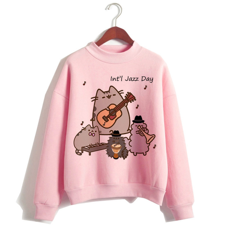 Pusheen The Cat Hoodie Women Fashion Kawaii Korean Harajuku Sweatshirt Pink Female 90s Cartoon Clothes Female Hood Oversized