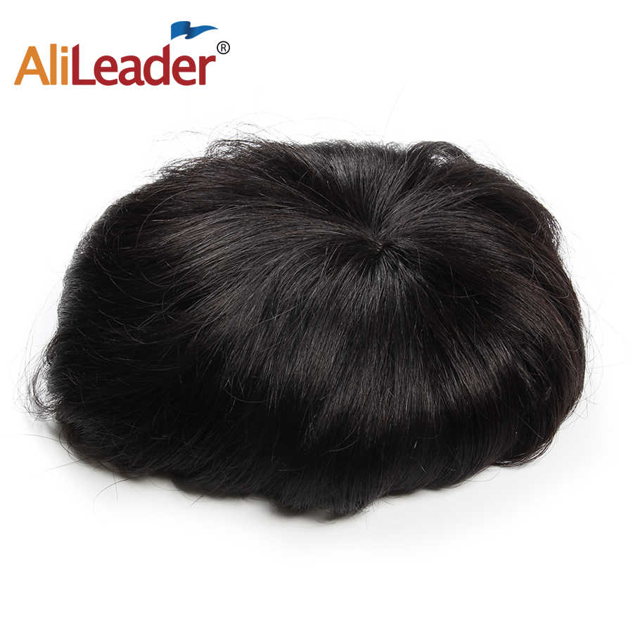 Alileader Popular And Cheap High Breathable Men's Hair Toupees With Clips Natural Black Color Human Thin Topper Hair Wigs