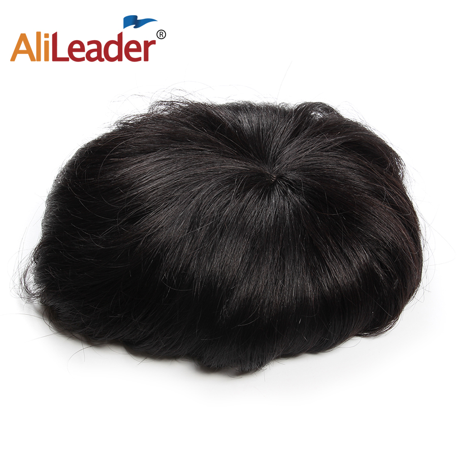 Alieader 20*12 <font><b>CM</b></font> Hair Toupee Straight Human Hair <font><b>Wigs</b></font> For Men High Quality Cheap Hair Replacement Systems image