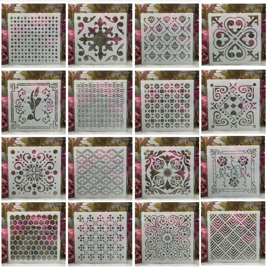 16Pcs/Set 20*20cm Square Flower Hex Geometry DIY Layering Stencils Painting Scrapbook Coloring Embossing Decorative Template