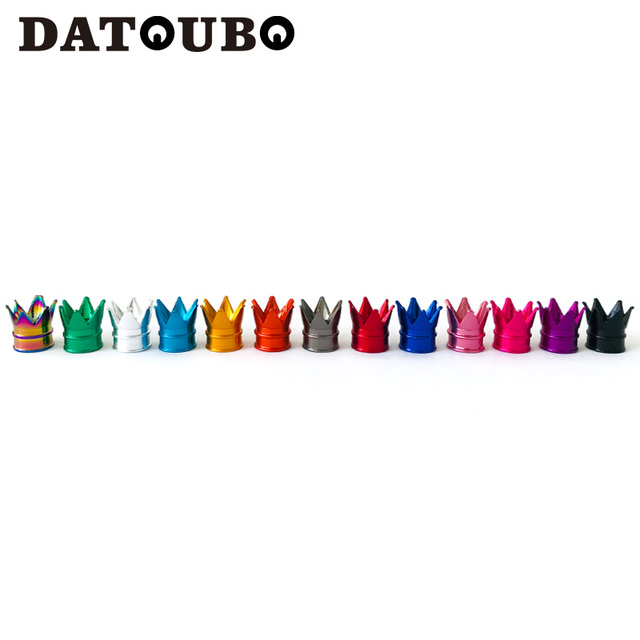 DATOUBO 4pcs חדש מגיע צבעוני אלומיניום כתר רכב הצמיגים Valve גזע Caps צור אוויר אבק Caps משאית אופניים גלגל רכב שסתום כובע