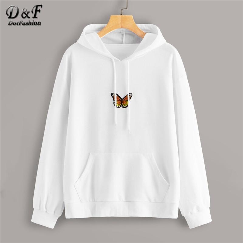 Dotfashion White Butterfly Drawstring Hooded Sweatshirt Women 2019 Autumn Long Sleeve Sweatshirts Ladies Solid Casual Top