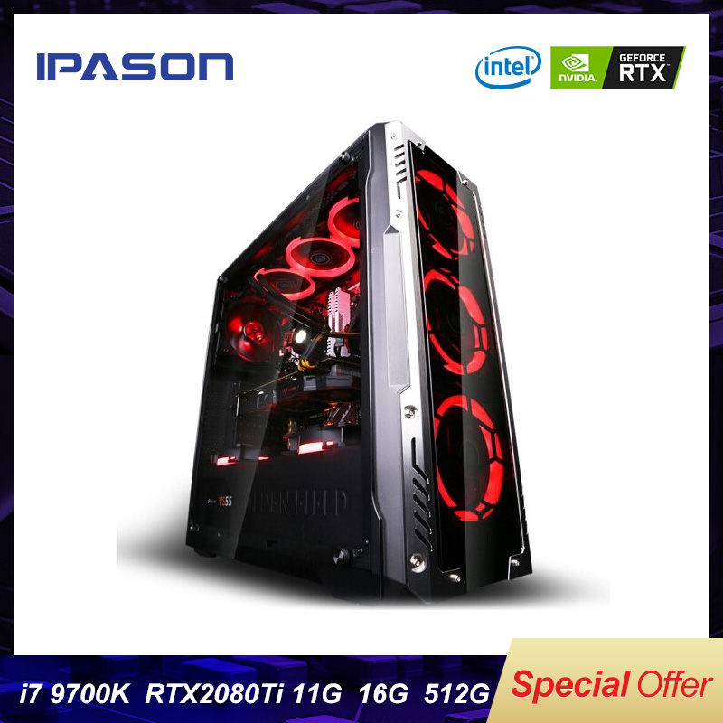 8-Core Intel 9th Gen I7 9700k IPASON P9 PLUS Gaming PC/512G SSD/DDR4 8G/16G RAM/Dedicated Card 2080ti 11G Desktop Computer