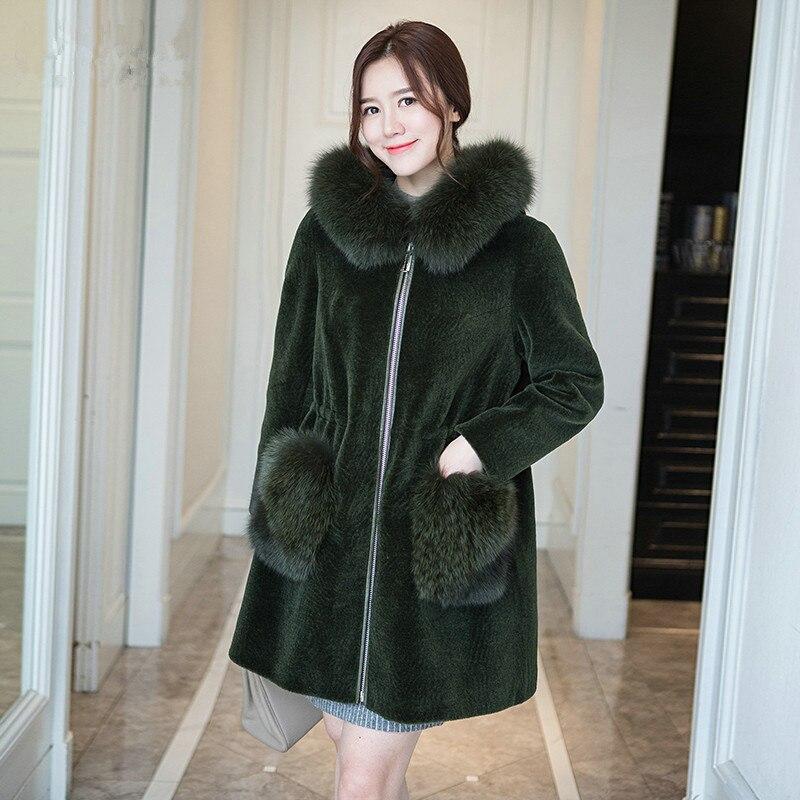 Fur Women's Coat 2020 Natural Fur Coats Winter Real Wool Jackets With Fox Fur Collar Hooded Warm Female Jacket WYQ997       S