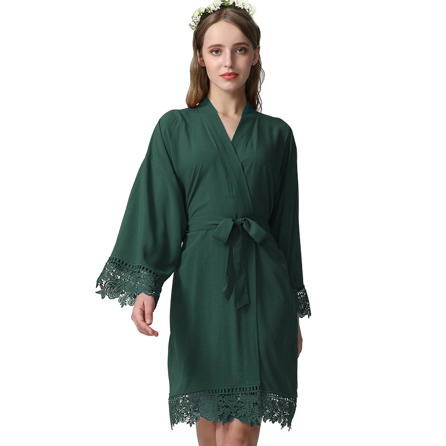 YUXINBRIDAL Dark Green Rayon New Solid Cotton Kimono Robes With Lace Trim Women Wedding Bridal Robe Short Belt Bathrobe