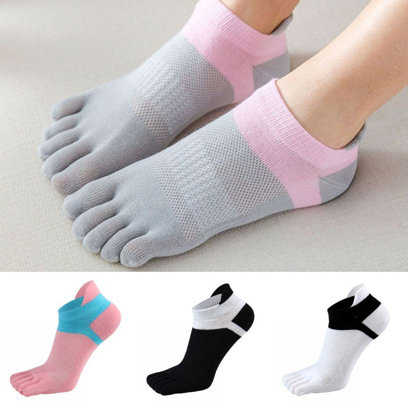 Women Short Tube Yoga Socks Fitness Comfortable Five-finger Cotton Socks Stitching Color Breathable Finger-separated Socks